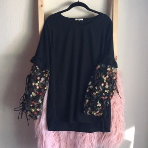 Floral Embroidered Mesh Lace Up Sleeve Blouse